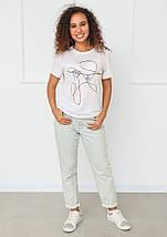 """Женская белая футболка с рисунком """"Lady"""", фото 3"""
