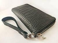 Кожаный кошелек клатч на молнии большой с тиснением