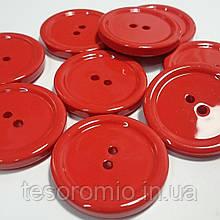 Пуговица пластиковая, диаметр 2,3 см, цвет красный