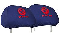Универсальные чехлы майки на подголовники для автомобиля BMW (темно-синие)