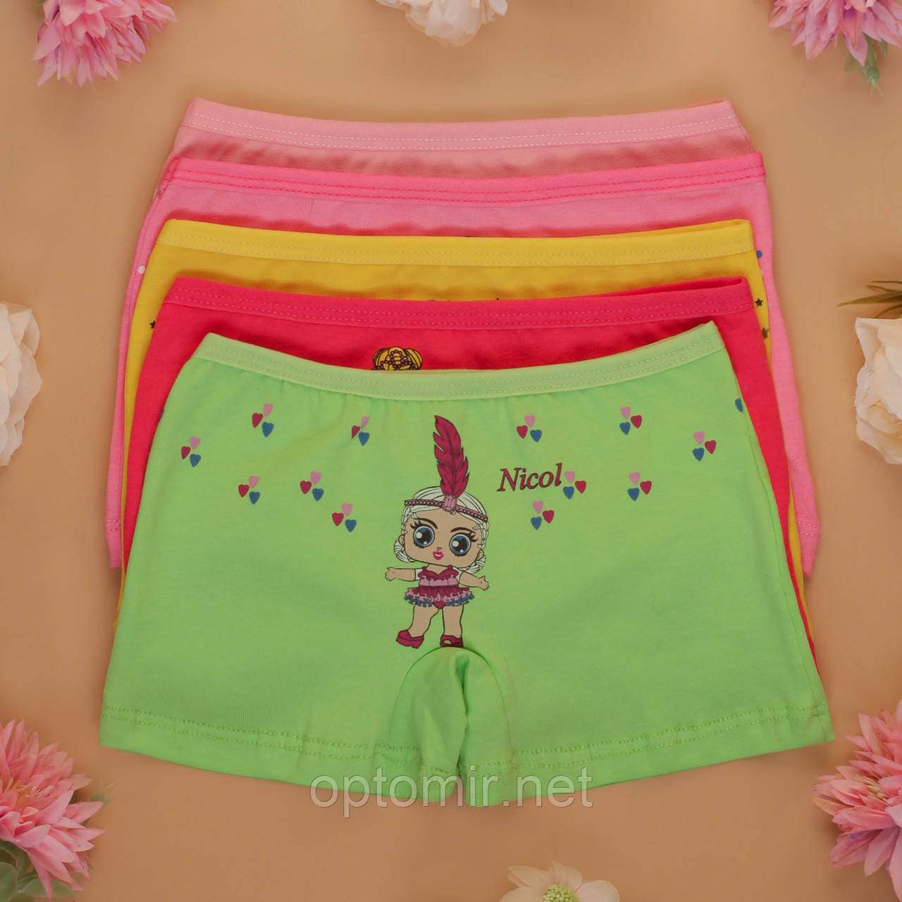 Трусы детские шортики Nicoletta для девочки  (возраст: 4-5 лет) | 5 шт.