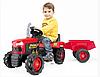 Педальний Трактор Dolu 8053 червоно-чорний з причепом