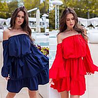 Женское летнее свободное розовое красное платье синее белое с открытыми плечами с софта рюшами 42 44 46 48