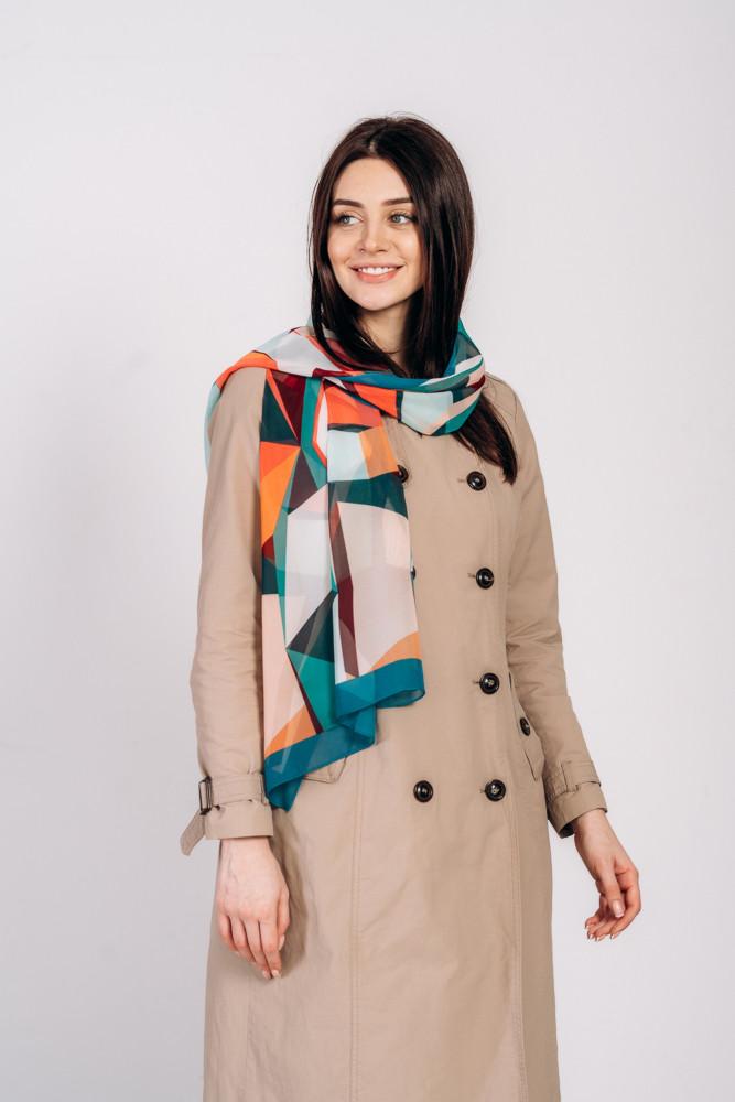 Красочный легкий воздушный шарф с геометрическим узором