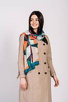 Красочный легкий воздушный шарф с геометрическим узором, фото 1