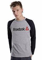 Чоловіча спортивна кофта (спортивний світшот) Reebok, рібок, сіро-чорна (в стилі)