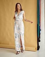 Женское летнее  платье в пол, ткань шелк Армани  ,размеры 42-44,46-48,50-52  (1179,2)  голубой, сукня
