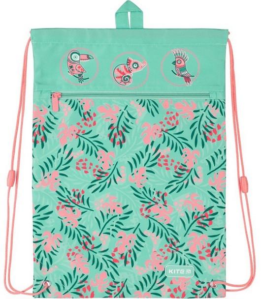 Сумка для взуття KITE Education Tropical для дівчинки, з кишенею, поліестер, 46*33 см