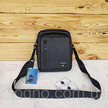 Чоловіча сумка месенджер через плече чорного кольору