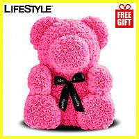 Мишка из Роз 25см, Мишка из цветов + кошелек Baellerry Forever Mini в подарок