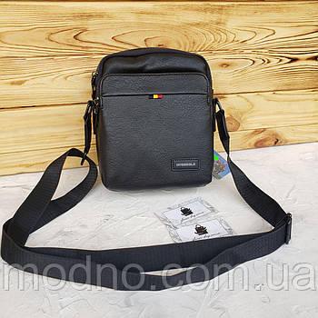 Мужская сумка через плечо в двух размерах чёрная