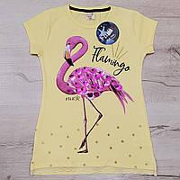 """Стильная летняя подростковая футболка для девочки """"Фламинго"""", 128-164 лет/"""