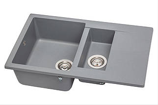 Кухонная мойка гранитная MIRAGGIO LAPAS gray, фото 2