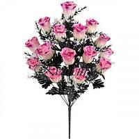 Букет из атласа розы с темными листьями, 73см