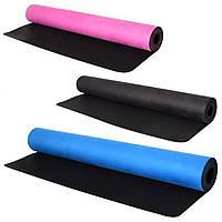Мат коврик для йоги и фитнеса Profi 183 х 68 x 0.3 см замшевый + резина