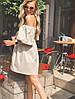 Женское платье с объемными рукавами и открытыми плечами размер 42-46 кофе с молоком, фото 3
