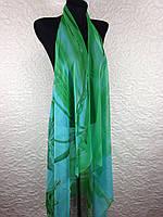 Шифоновая бирюзовая пляжная накидка с пальмой (цв.4)