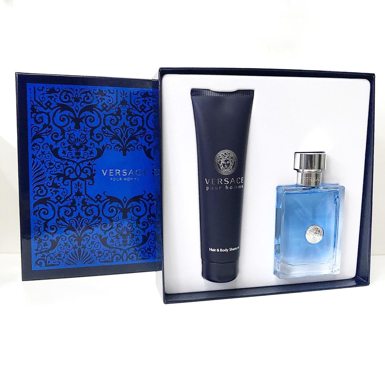 Подарунковий набір чоловічий Versace Pour Homme set туалетна вода 100ml + shower gel 150ml цитрусовий аромат