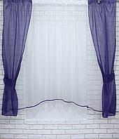 Комплект кухонные шторки с подвязками. Цвет фиолетовый с белым №051к 50-078