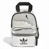 Женский маленький голографический блестящий мини рюкзак ADIDAS серебряный