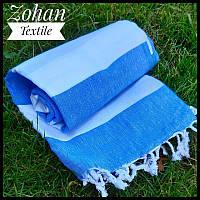 Пляжный коврик/покрывало для моря и пикников синее с белым 180х100 в полоску Турция