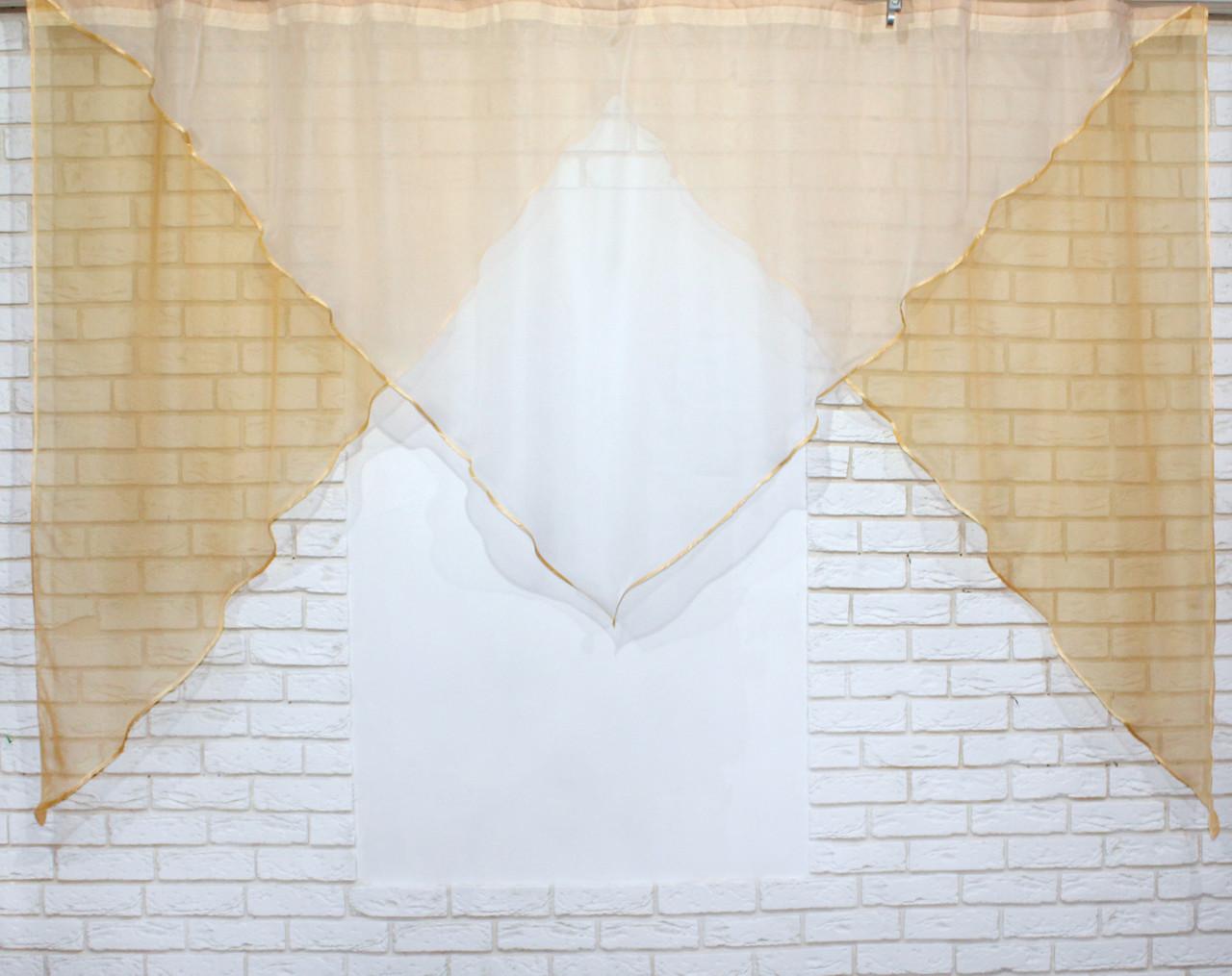 Кухонная гардина №9 янтарный с белым