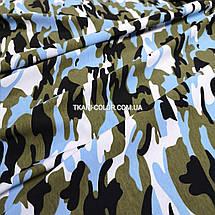 Футер двунитка принт камуфляж голубой (180 см), фото 3