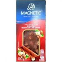 Молочный шоколад Magnetic с цельными лесными орехами, 100г(Польша)
