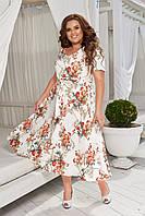 Женское платье большие размеры ниже колен под поясок  50-52, 54-56, 58-60, фото 1