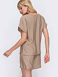 Однотонный комплект свободная блузка и шорты ЛЕТО, фото 6