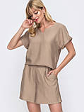 Однотонный комплект свободная блузка и шорты ЛЕТО, фото 5