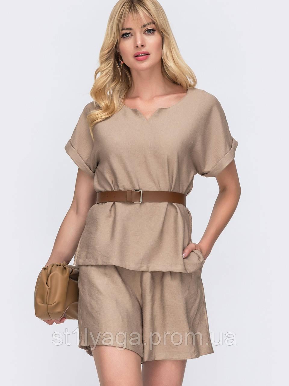 Однотонный комплект свободная блузка и шорты ЛЕТО