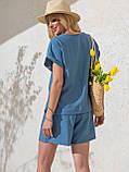Однотонный комплект свободная блузка и шорты ЛЕТО, фото 3