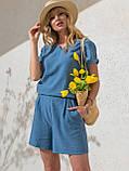 Однотонный комплект свободная блузка и шорты ЛЕТО, фото 2