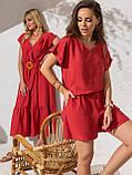 Однотонный комплект свободная блузка и шорты ЛЕТО, фото 8