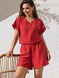 Однотонный комплект свободная блузка и шорты ЛЕТО, фото 7