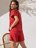 Однотонный комплект свободная блузка и шорты ЛЕТО, фото 9