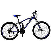 🚲Горный стальной велосипед двухподвесник Titan VIPER (Shimano, моноблок); рама 17; колеса 26