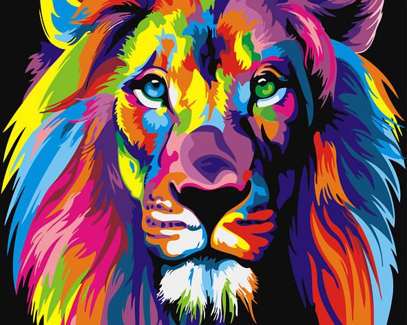 Картина по номерам 40х50см. GX8999 Радужный лев Brushme, фото 2
