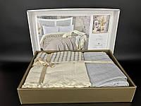Постельное белье с пледом летний набор Favotite Турция серый