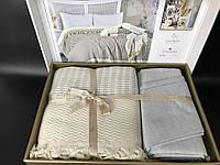 Постельное белье с пледом летний набор Favotite Турция светло-серый