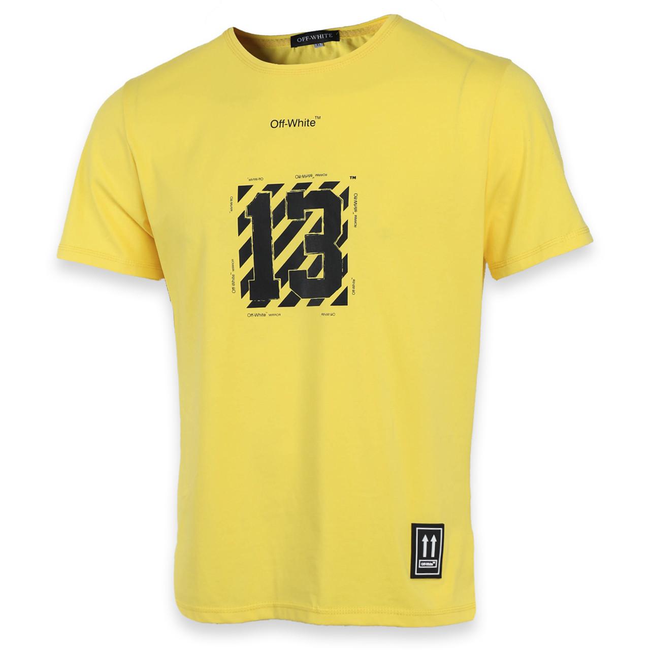 Футболка мужская желтая с принтом OFF-WHITE №13 Ф-10 YEL L(Р) 19-651-020-001
