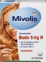 Mivolis Biotin 5 mg N Tabletten, 60 St - Таблетки с биотином 5 мг для здоровых волос, кожи и ногтей, 60 табл.