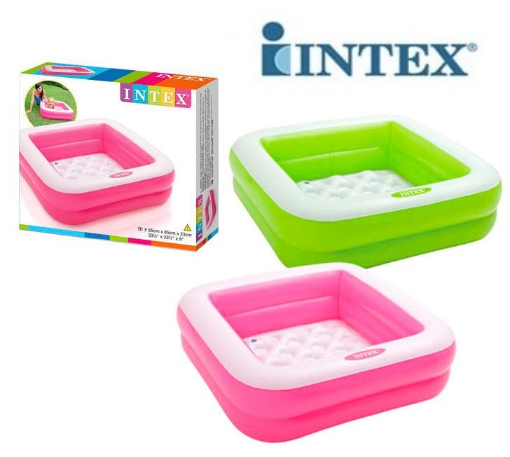 Разноцветный детский надувной бассейн с надувным дном квадратной формы  Intex 57100
