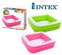 Разноцветный детский надувной бассейн с надувным дном квадратной формы  Intex 57100, фото 1