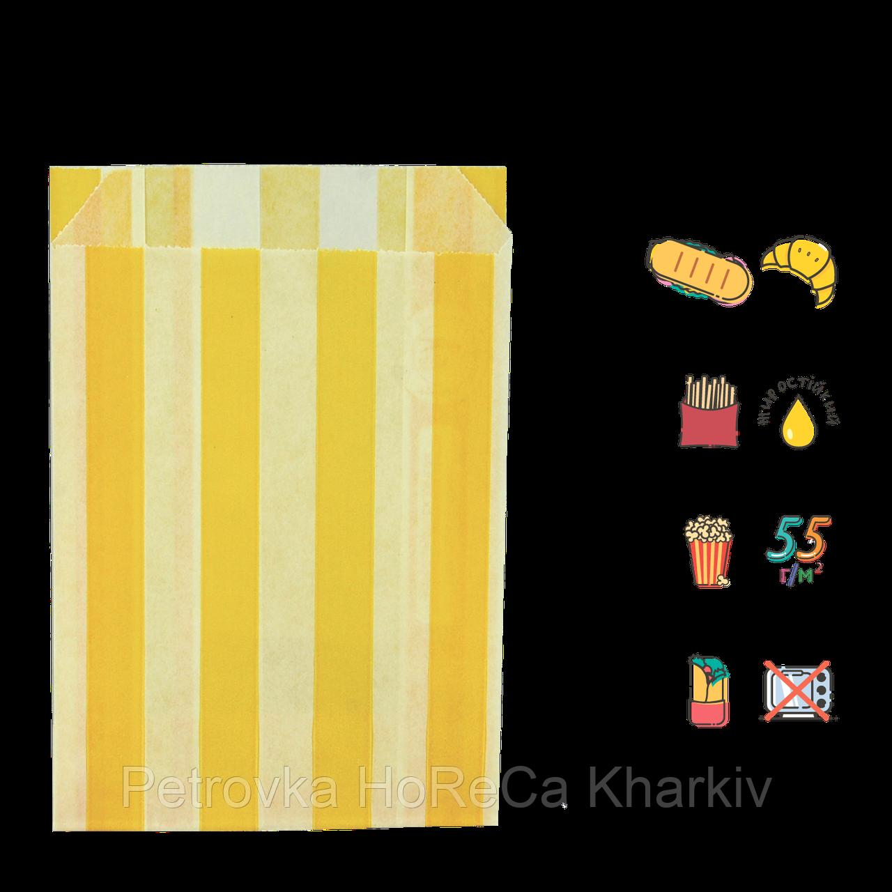 """Пакет бумажный """"Желтые полоски"""" жиростойкий  170х120х50мм (ВхШхГ) белый,  55г/м² 100шт (1883)"""