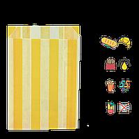"""Пакет бумажный """"Желтые полоски"""" жиростойкий  170х120х50мм (ВхШхГ) белый,  55г/м² 100шт (1883), фото 1"""