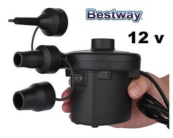Автомобильный компрессор-насос 12V для накачивания надувных матрасов и бассейнов с насадками BestWay