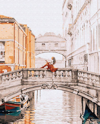 Картина по номерам 40х50см. GX32316 Девушка на мосту Венеции Brushme, фото 2