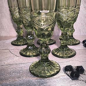 """Набор зелёных бокалов для шампанского из цветного стекла Helios """"Изумруд"""" 6 шт 150 мл (6445), фото 2"""
